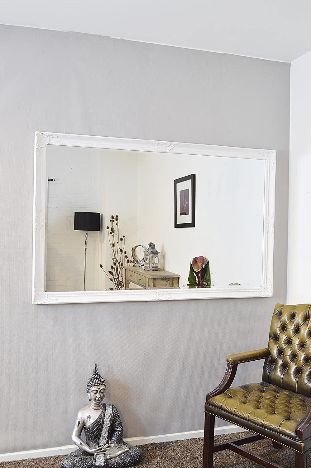 extra large white full length antique bevelled wall mirror 5ft6x3ft6 164cmx102cm amazoncouk kitchen u0026 home