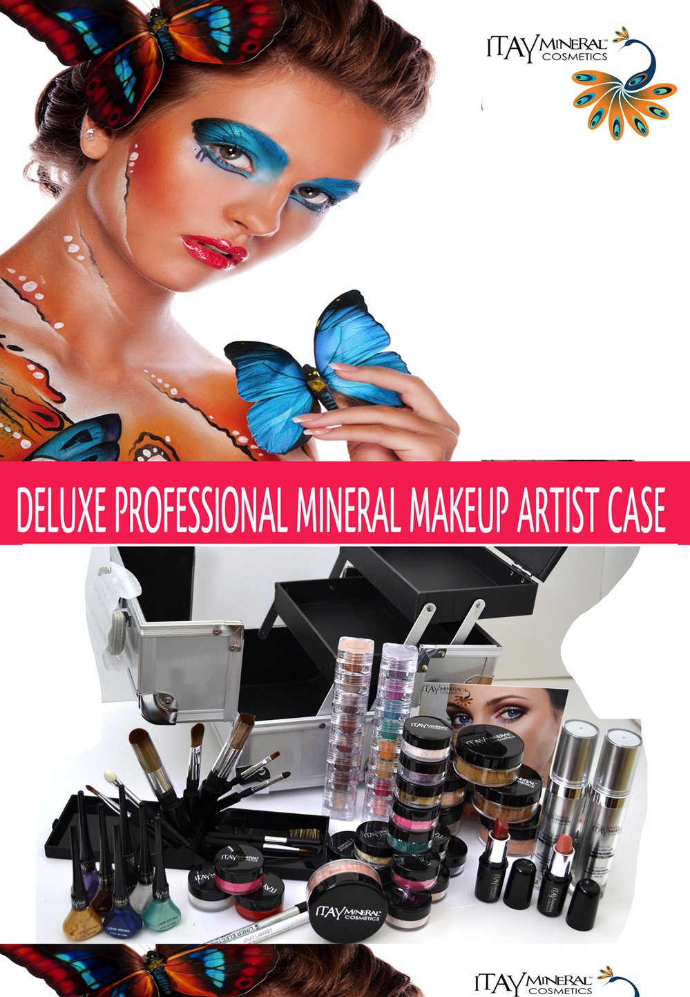Professional Deluxe Artist Makeup Case Tan Kit By Itay Beauty Mineral Makeup