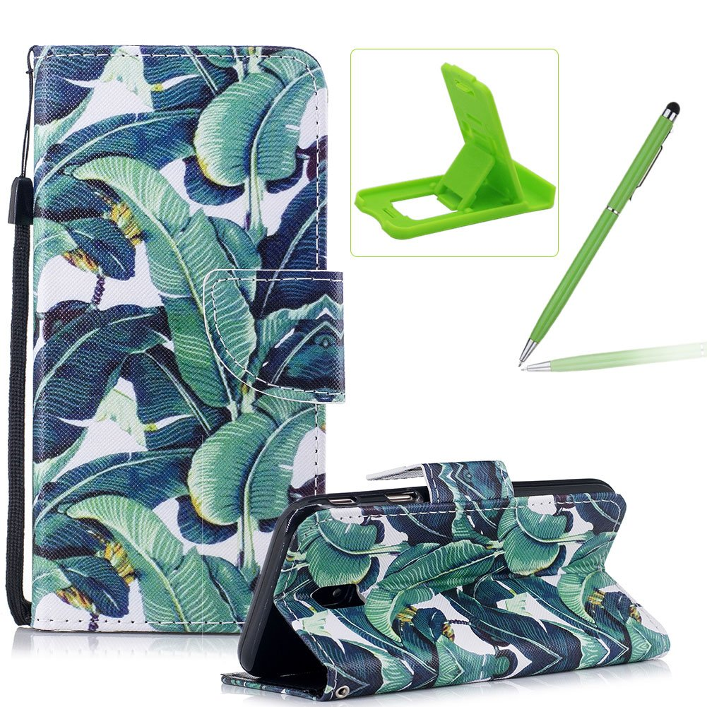 Strap Leather Case for Samsung Galaxy J3 2017 J330,Flip Portable Carrying Case for Samsung Galaxy J3 2017 J330,Herzzer Premium Stylish Banana Leaves Printed Foldable Full Body Folio Pu Leather Stand Cover with Card Slots