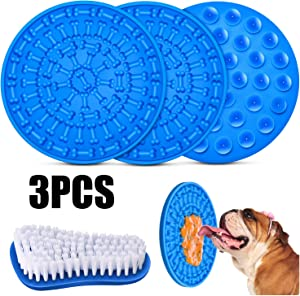 2 Pieces Dog Lick Mat Slow Dispensing Treater Mat Peanut Butter Lick Mat with Cleaning Brush for Pet Bathing Grooming and Dog Training