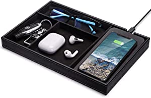 Valet Tray, Built in Wireless Charging Pad, Nightstand Organizer, Dresser Organizer, Mens Jewelry Box, Catch All Tray, Faux Leather Valet Tray for Men, Black