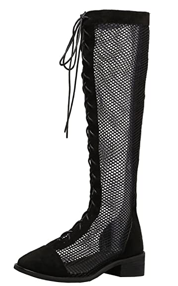 ee3af4b6a12f WAROFT Women's Lace Knee High Heel Boots Breathable Mesh Hollow Out Summer  Boots Sandals Black 4