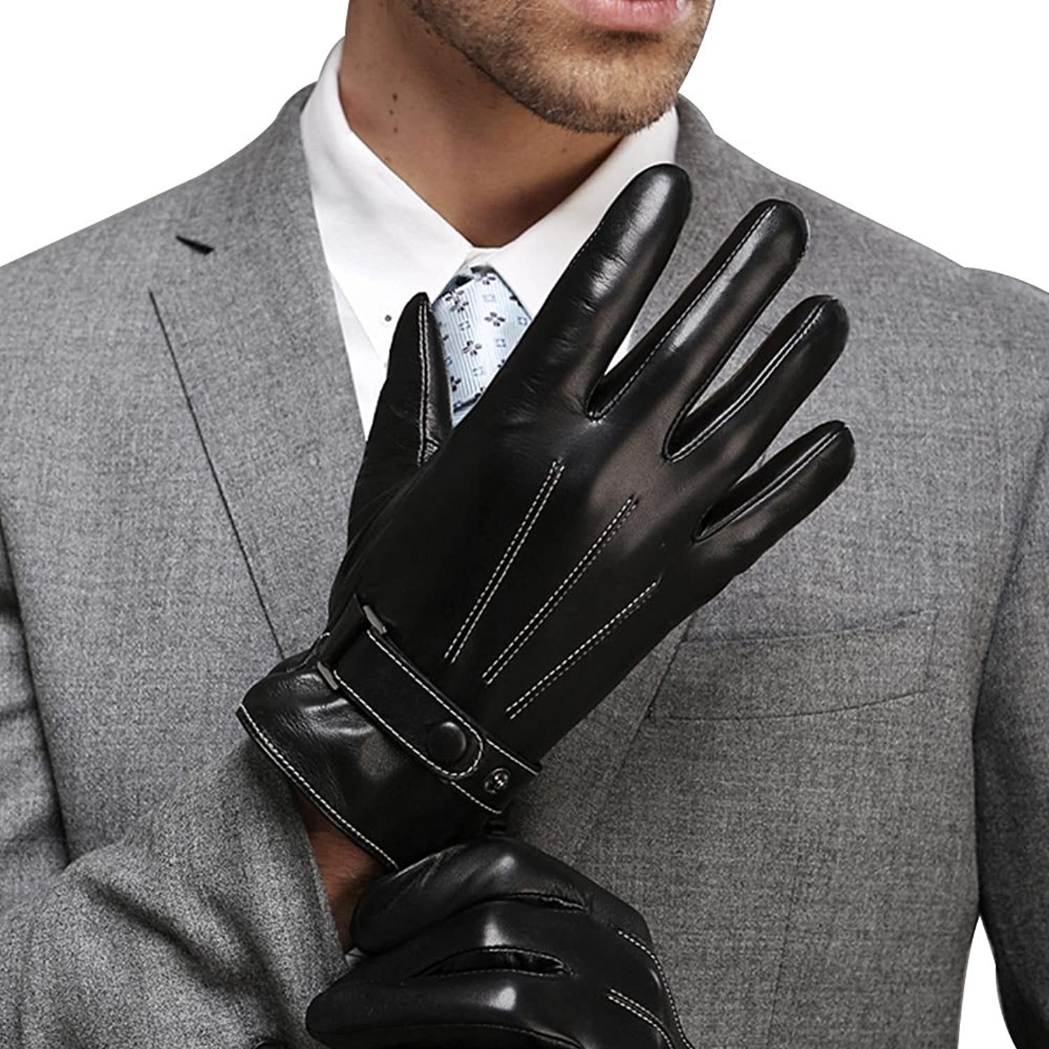 Mens leather gloves for iphone - Harrms Best Luxury Touchscreen Italian Nappa Leather Gloves For Men S Texting Driving Cashmere Lining