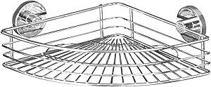 WENKO 20887100 Vacuum-Loc corner shelf Bari - fixing without drilling, Steel, 12.4 x 3.3 x 8.7 inch, Chrome