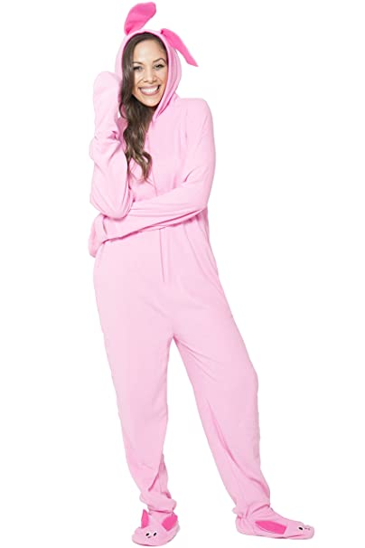 christmas story womens deranged bunny one piece pajama pink