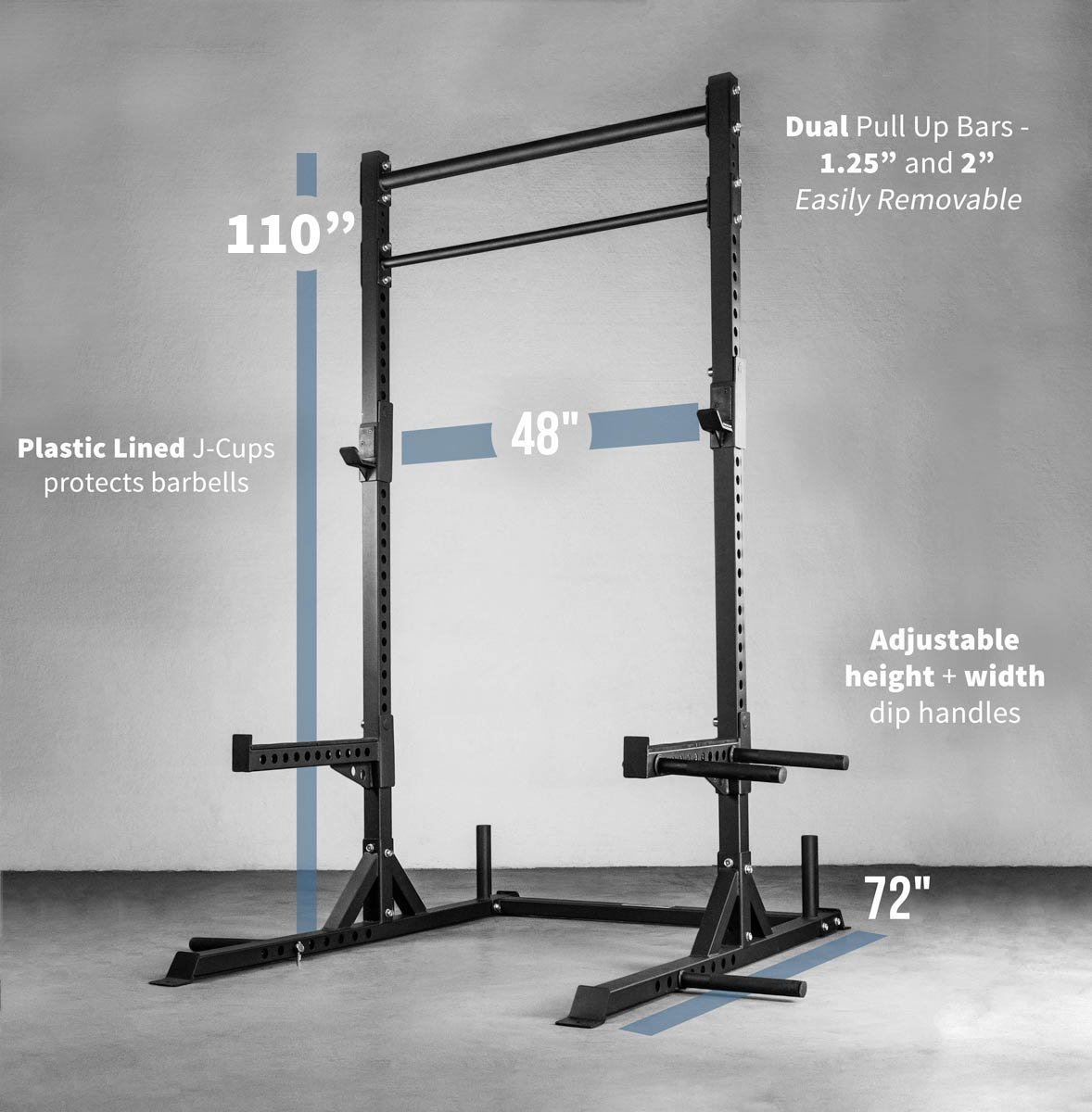 Rep Squat Rack with Pull Up Bar and Flat Bench - 110 in by Rep Fitness (Image #2)