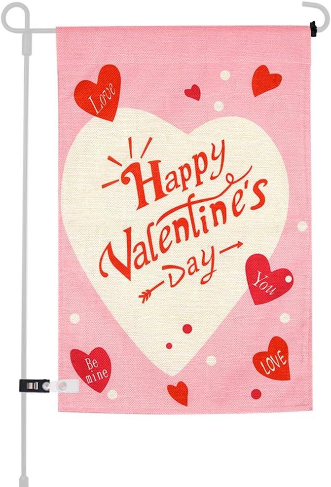 KUUQA Happy Valentine's Day Garden Flag for Garden Decorations Valentine's Party Supplies 12 X 18 Inches