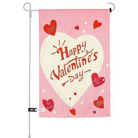 Amazon.com : KUUQA Happy Valentine\'s Day Garden Flag for Garden ...