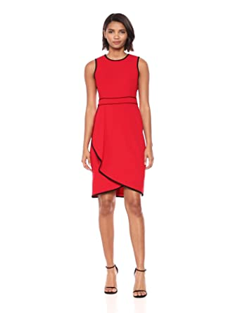 fcd09424188b4 Calvin Klein Women s Sleeveless Dress with Contrast Piping at Amazon ...
