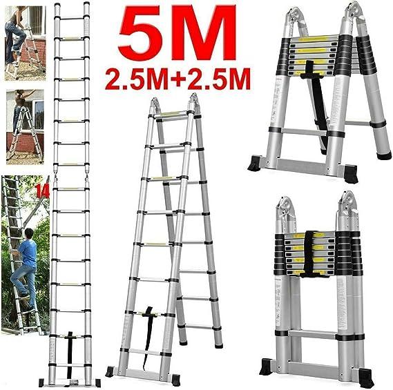Escalera extensible de 5 m (2,5 + 2,5 m) con barra de apoyo, escalera telescópica con bisagras, aluminio multiusos para interior y exterior, 150 kg de capacidad de carga, certificado EN131: Amazon.es: Bricolaje y herramientas