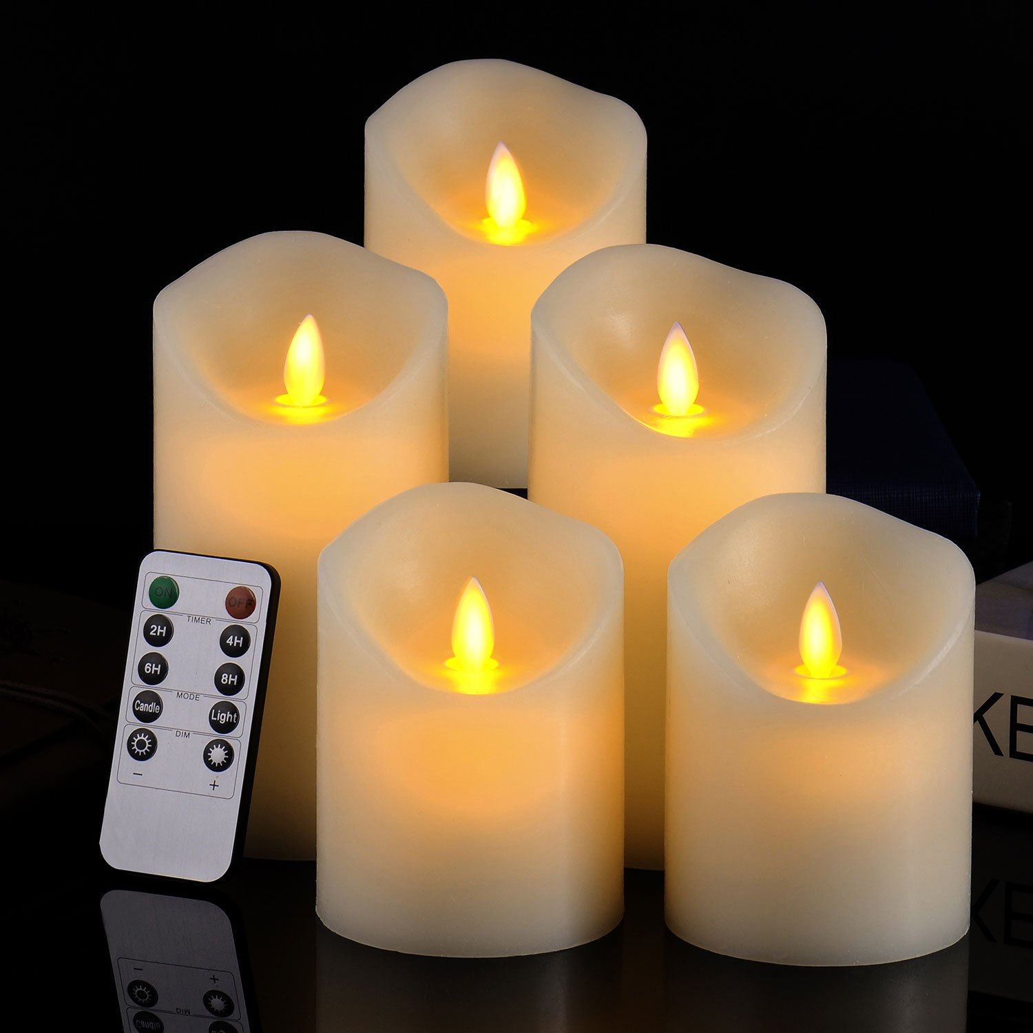 Ivory Flameless LED Pillar Candles with Remote - Set of 5