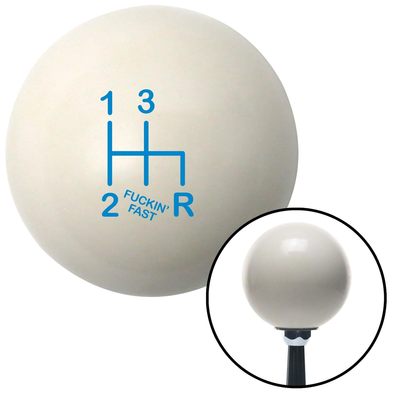 American Shifter 77023 Ivory Shift Knob with M16 x 1.5 Insert Blue Shift Pattern Fcking Fast Style 6n
