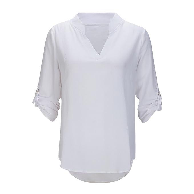 Beauty7 ES 34 Camisas Mujeres de Verano V Cuello Suelto Casual Gasa Blusas de Manga Larga