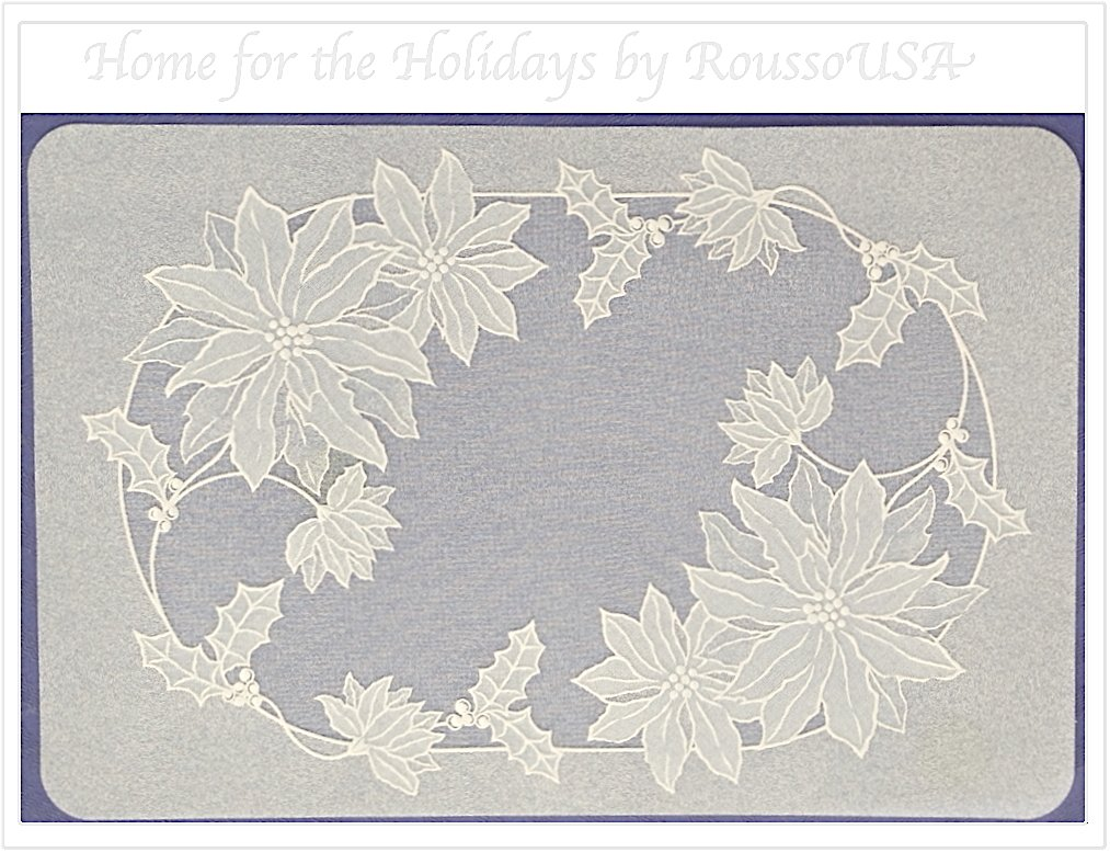 Set of Four Vinyl Table Mats: Pretty Poinsetta Placemats. Neutral color will take on hue of table or cloth underneath. Dress up your holiday table. 18
