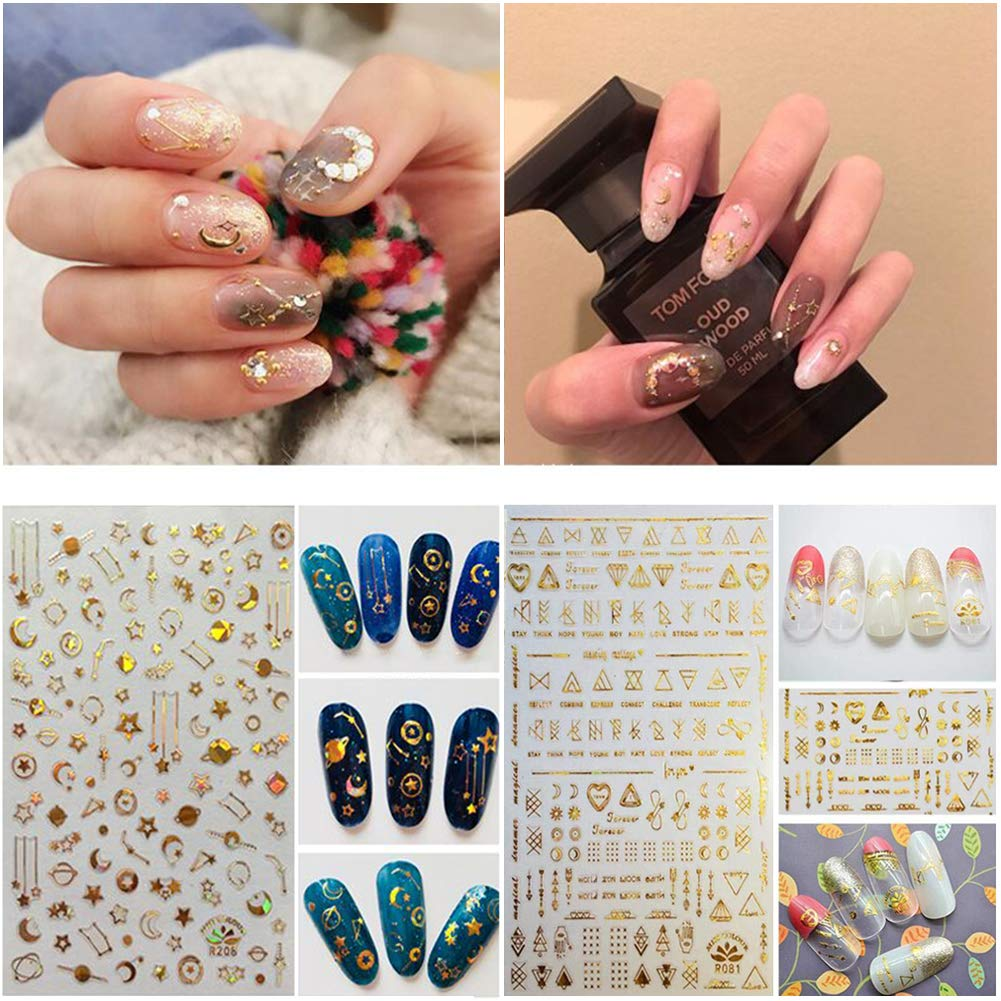 Nail Sticker Decals – Hippomee 6 sheets Nail Art Stickers Self-adhesive 3D Nail Tips DIY Decorations for kids girls women (Silver & Gold)