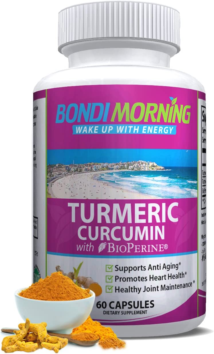 Turmeric Curcumin with Bioperine. High Potency Anti-Inflammatory for Maximum Pain Relief and Joint Support. Non-GMO Nutritional Supplement. 1200mg 95 Standardized Curcuminoid Formula. 60 Capsules