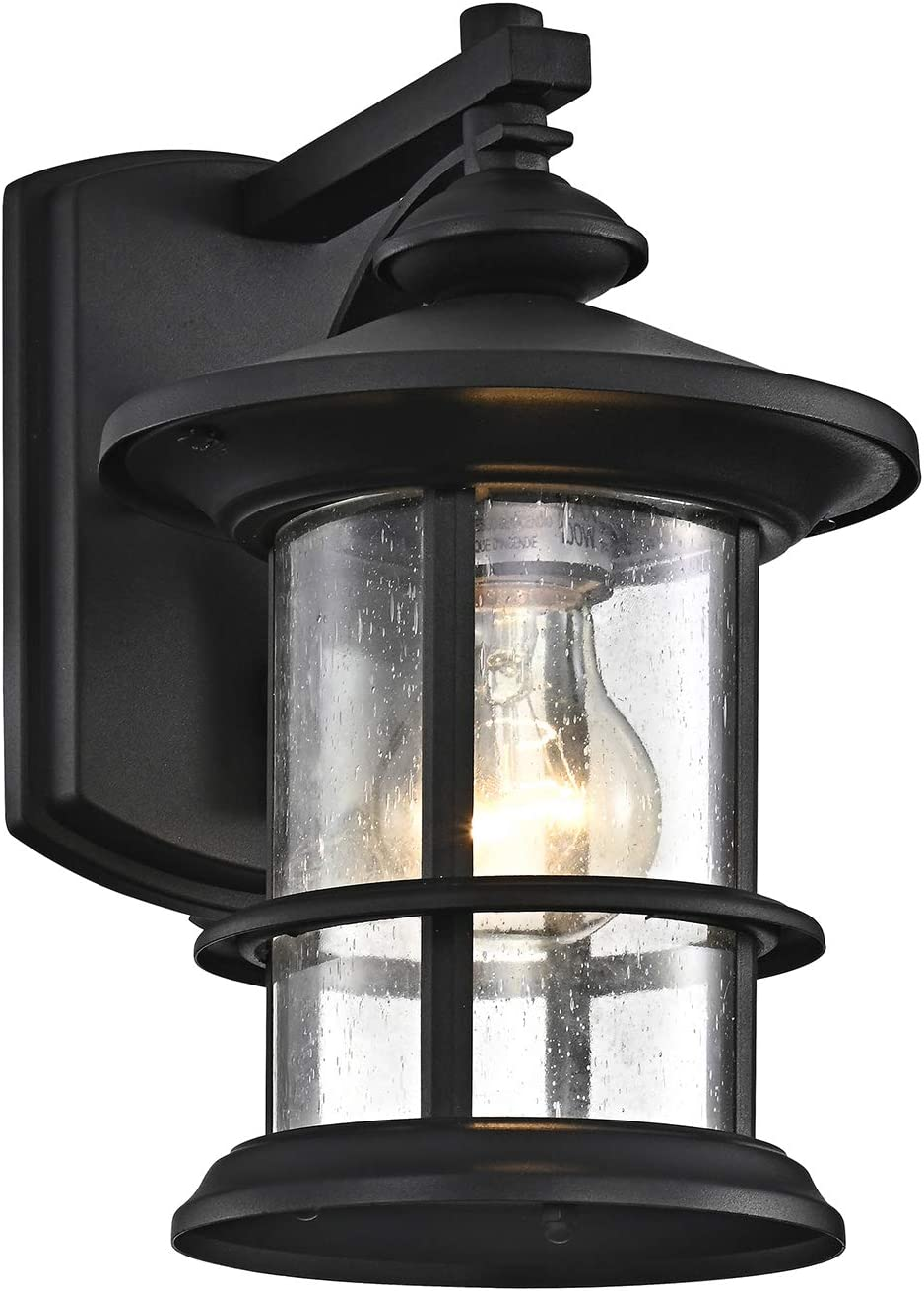 Micsiu Outdoor Wall Light Fixture Exterior Wall Mount Lantern Waterproof Vintage Wall Sconce With Clear Seedy Glass For Front Porch Patio Backyard Textured Black 1 Pack Amazon Com