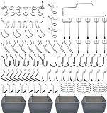 Peg Board Hooks Accessories, Pegboard Bins, Organizer, for Garage, 120pcs