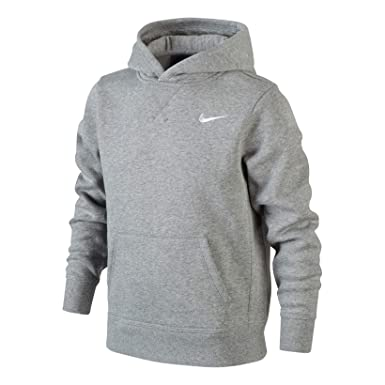 3ce85d07970 Nike Boys YA76 Brushed Fleece Hoodie - Dark Grey Heather/White, X-Small