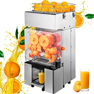 VBENLEM 110V Commercial Orange Juicer Machine, Automatic Feeding 120W, 20-30 Oranges Per Minute, Electric Citrus Juice Squeezer with Pull-Out Filter Box, Professional Kitchen Equipment