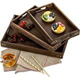 Sziqiqi Serving Tray Nesting Set of 3 Coffee Table Trays Ottoman Trays Rectangle Paulownia Wood Tray Collection with…