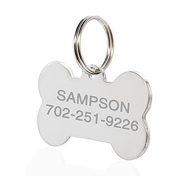 Amlion Etiquetas de identificación de mascotas para perros y gatos, etiqueta de perro personalizada de