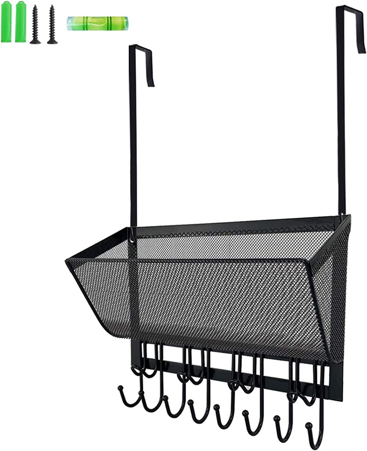 Giftgarden 3pcs Floating Shelves Bundle with Over The Door Hooks Coat Rack with Wire Mesh Basket