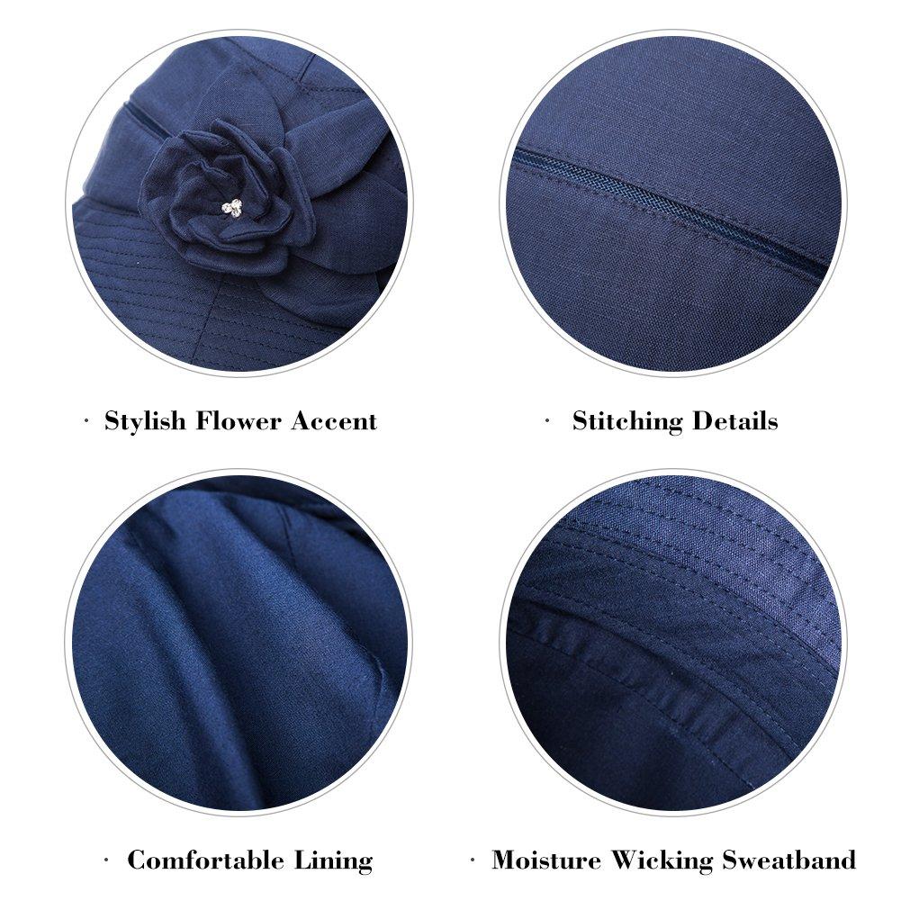Womans Packable Sun Bucket Hat with String Beach Safari SPF Protection Travel Bonnie Beige 56-58cm