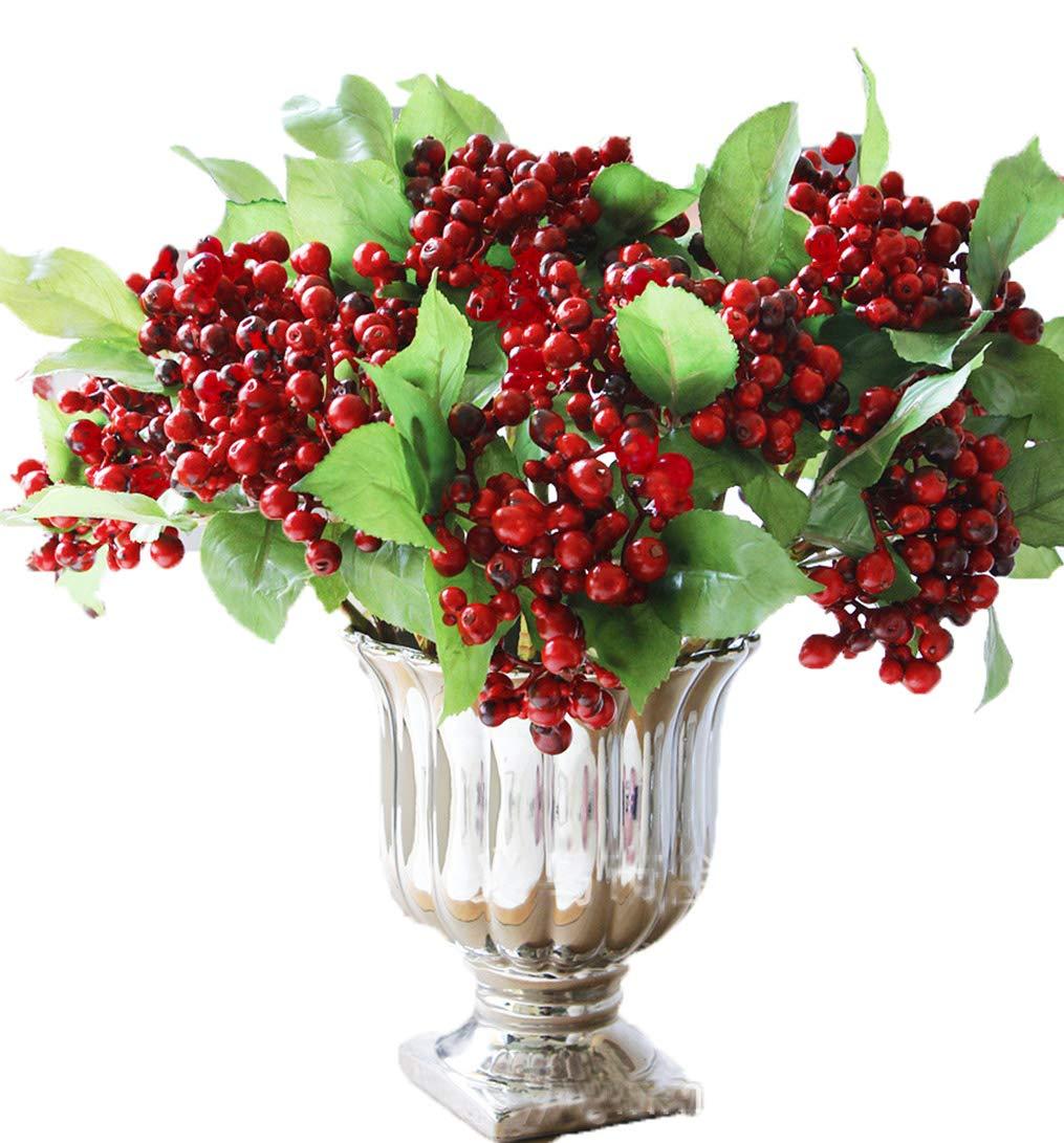 Anlise 豊かなレッド人工ベリー 茎 フルーツ フェイクシルクベリーリー ホリデーやクリスマス、フェスティバル、ホリデー、ホームデコレーション用 10個パック パープル B07KV1WXNQ レッド