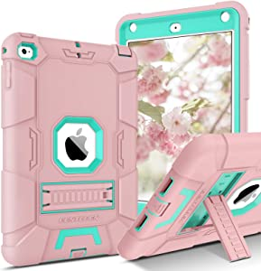 BENTOBEN iPad Mini 5 Case, iPad Mini 4 Case, Slim Fit Soft Silicone Protection Hybrid Hard PC Shockproof Rugged Tablet Kids Cover for iPad Mini 7.9 A2133, A2124, A2125, A2126, A1538,A1550, Pink/Mint