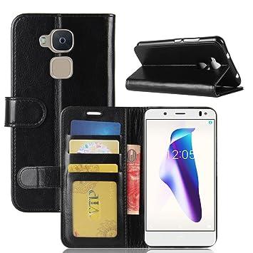 Funda BQ Aquaris V,funda piel GOGME[Billetera Caso Serie]Carcasa elegante, resistente, funcional y cómoda.negro