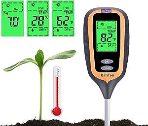 Urlitoy Soil Moisture Meter - 4 in 1 Soil Test Kit Gardening Tools PH, Light & Moisture, Plant Tester Home, Farm, Lawn, Indoor & Outdoor