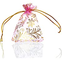 Housweety 25Pcs 7X9Cm Pink Gold Leaf Organza Gift Bags Wedding/Christmas Favor