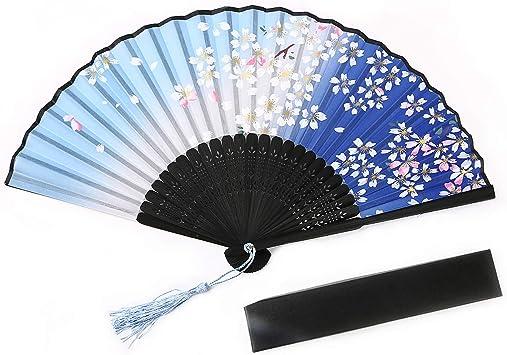 Image of URAQT Abanico de la Mano, Plegable de Mano Abanicos Abanico Madera con Borla Bambú y Seda Ventilador de Mano Japones Patrón Mariposa Flor de Cajas de Regalo para Baile Fiesta Ceremonias, 1 Piezas