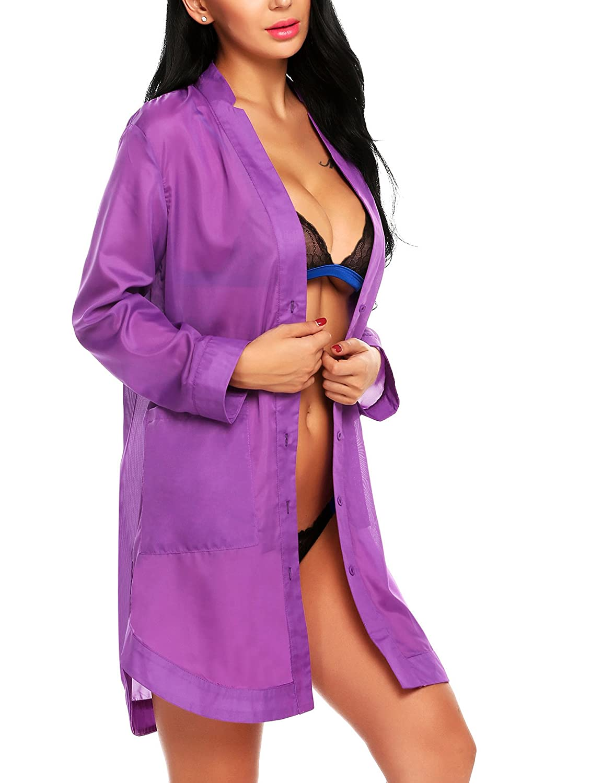 99bbcc920f Avidlove Women s Button-Front Nightshirts Long Sleeve Pajama Top Dress  Sheer Bikini Cover at Amazon Women s Clothing store