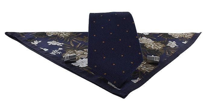 Michelsons of London Juego de gemelos y corbata de seda de doble ...