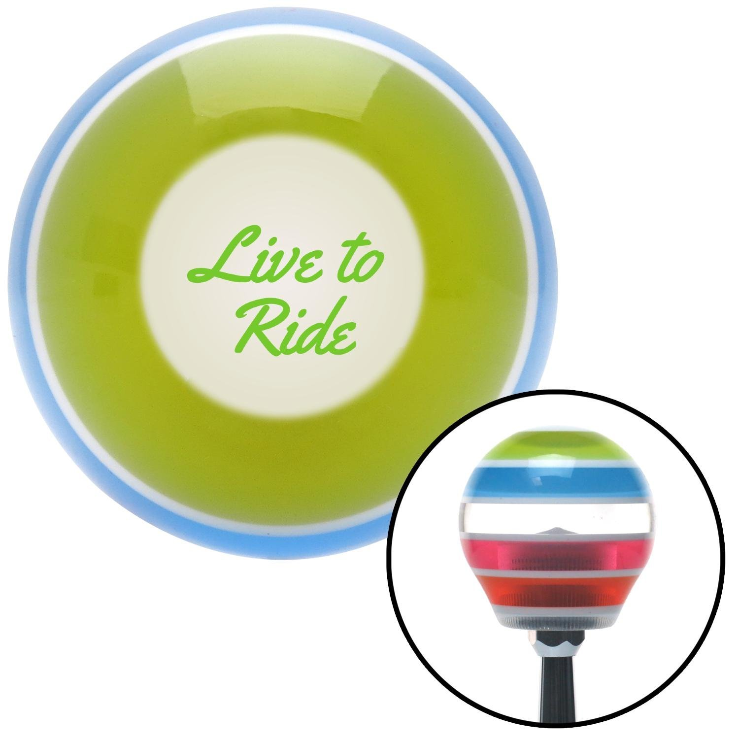 American Shifter 272650 Green Live to Ride Stripe Shift Knob with M16 x 1.5 Insert