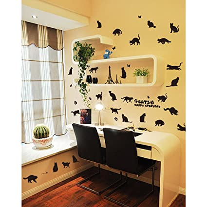 Amazon.com: Flowers Butterfly Wall Stickers Cartoon Animals Photo ...