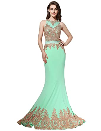 Sarahbridal Women Mermaid Long Prom Jewel Crystal Shuang Ma Dresses Elegant Party Gowns Dress with Beads