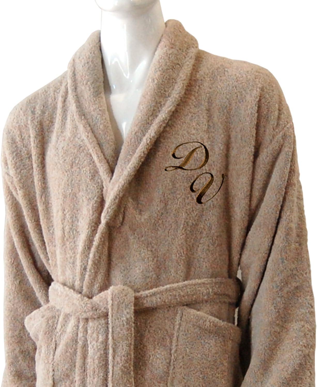 Personalizado Monogram cuello 100% albornoz de rizo de algodón gris de punto, 100% algodón, marrón topo, S/M: Amazon.es: Hogar