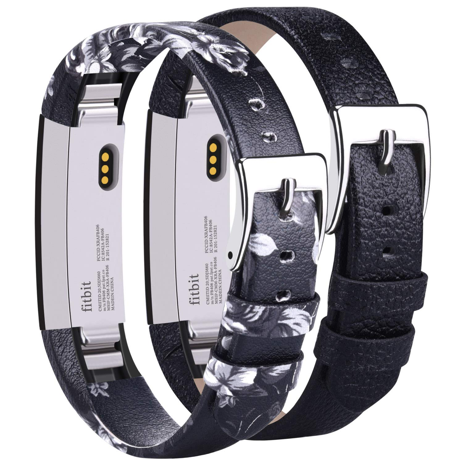 Vancle Leather Bands Compatible with Fitbit Alta/Fitbit Alta HR for Women Men, Adjustable Replacement Accessories Strap with Buckle for Fitbit Alta and Fitbit Alta HR (#.Floral Gray+Black)