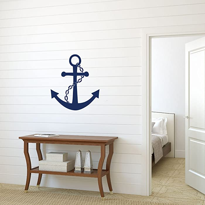 Navy Blue Anchor Vinyl Wall Decal Sticker - Large Nautical Ocean Symbol, Decoration for Home or Themed Room