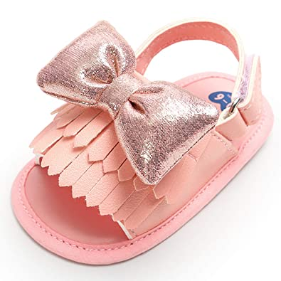 ea1b2cd8b11 BENHERO Infant Baby Girls Summer Sandals with Tassels Soft Sole PU Leather Newborn  Toddler First Walker