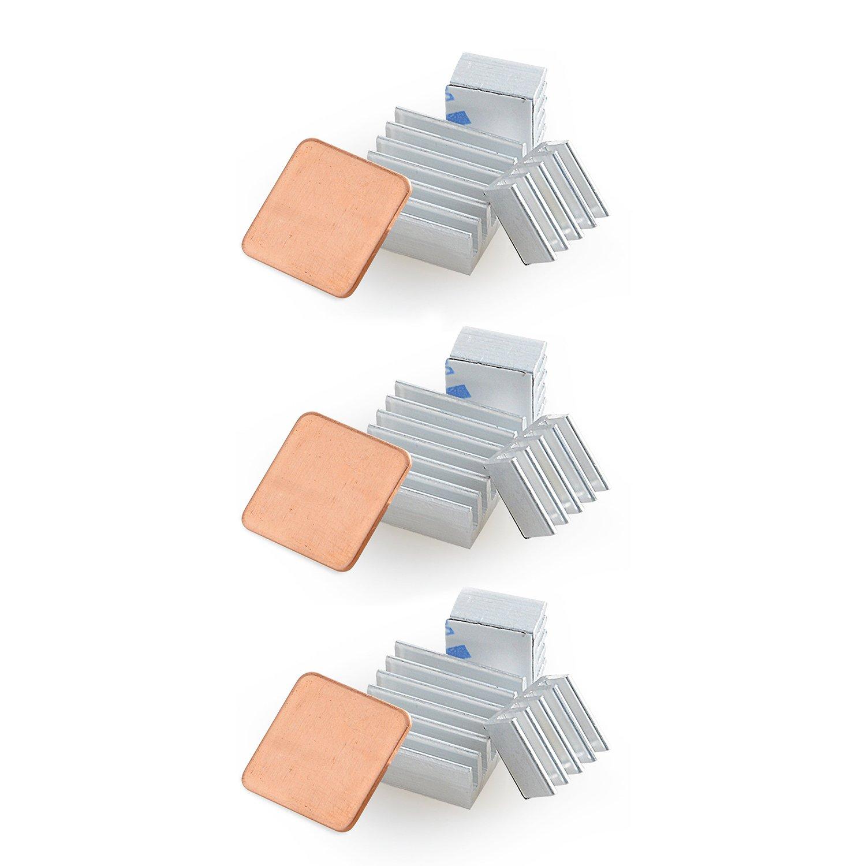 Aukru –  Heat Sink for Raspberry Pi (Aluminium, Pack of 3, Silver Aukru Spain 520361290242