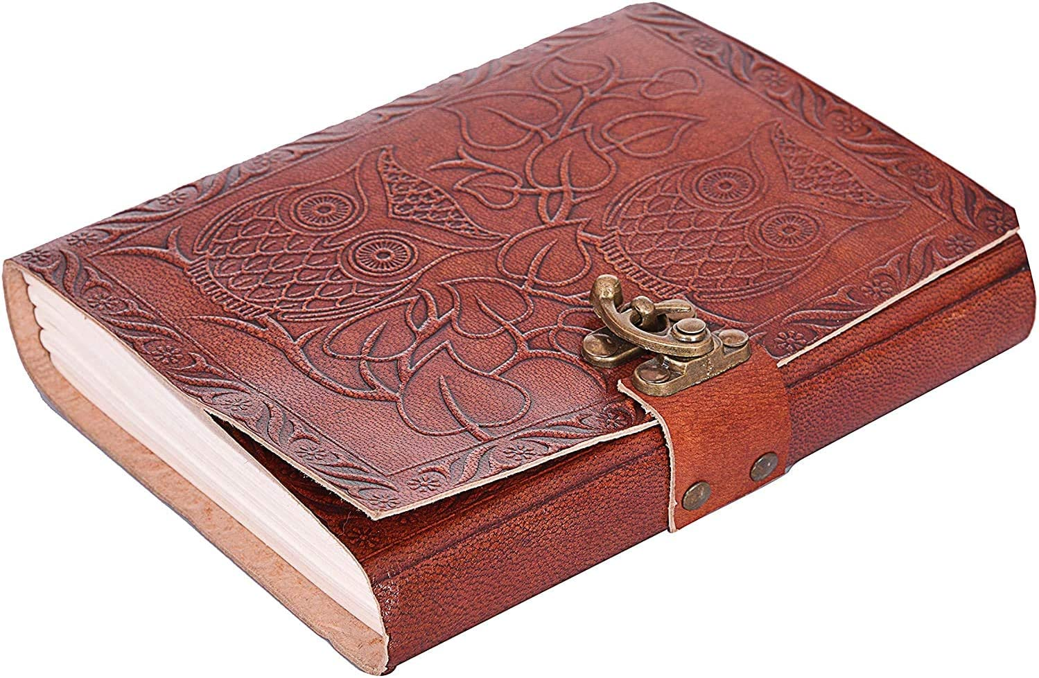 Antique Handmade Leather Bound Daily Notepad for Men /& Women Unlined Handmade Paper 7 x 5 Inches Owl Embossed Leather Journal Handmade Travelers Notebook by Swastik Leather