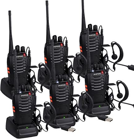 Long Range Walkie Talkies for Adults, BF-888S 2 Way Radio Rechargeable with Original Earpieces 6 Pack