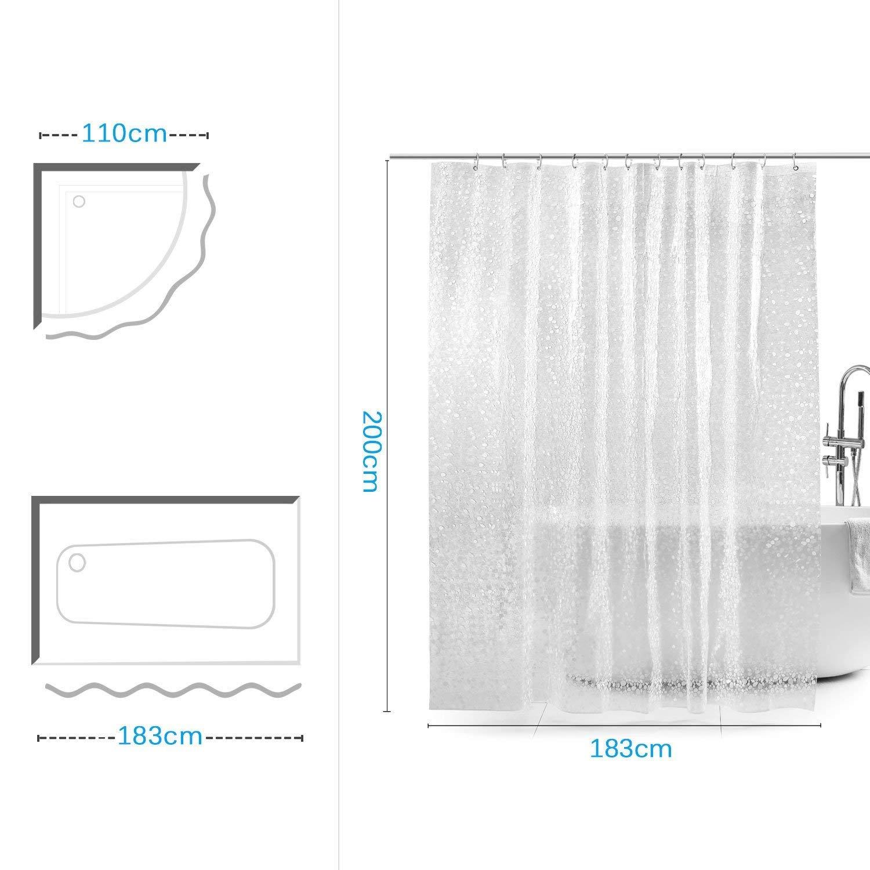 Cortina Baño, Cortinas de Ducha/Bañera Cortina, Impermeable|Resistente al Moho|Antibacteriano|180X180 CM| con 12 Ganchos a Prueba de Herrumbre, ...