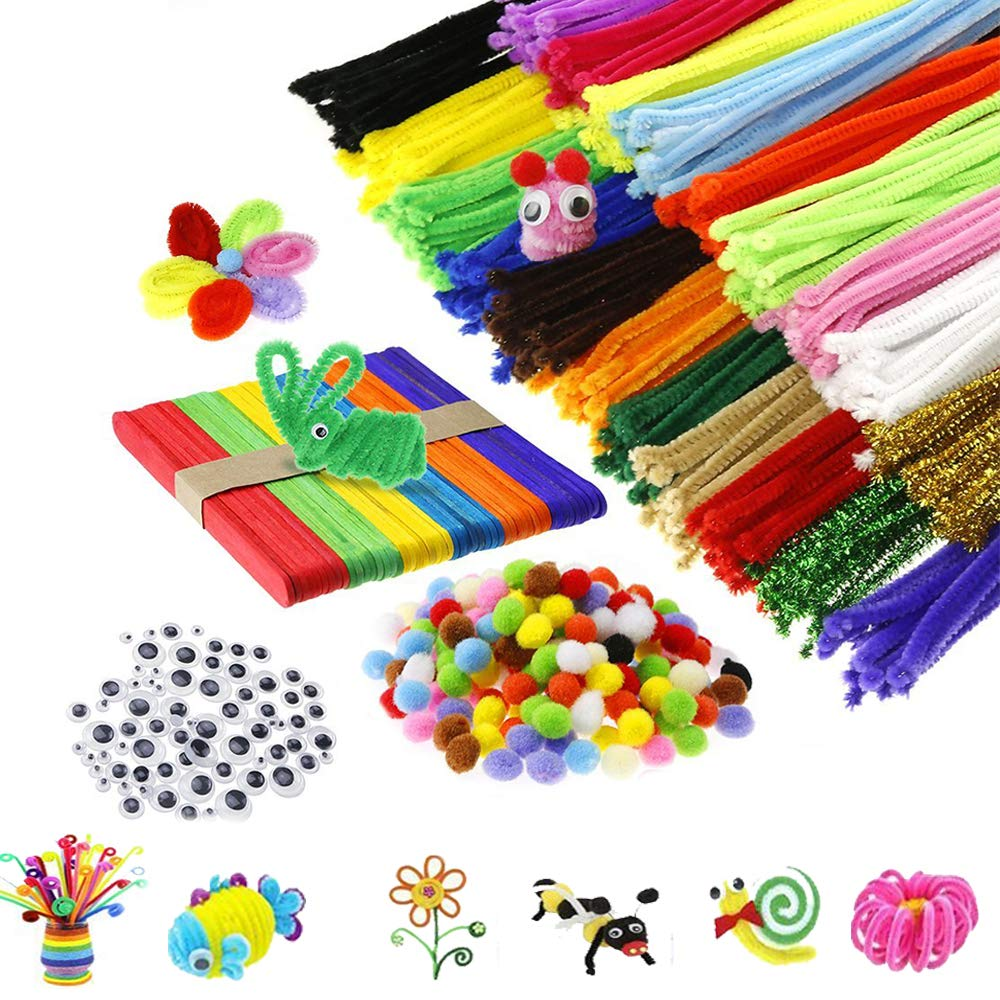 Zinnor Pipe Cleaners Set, 600Pcs Pipe Cleaners Craft Set with 200Pcs Pompoms 100 Pcs Fiber Pipe 100Pcs Mtallic Pipe Pcs Wiggle Googly Eyes and 50Pcs Ice Cream Sticks for DIY Art Craft Projects