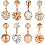 D.Bella 8Pcs Short Belly Button Rings 14G Stainless Steel for Women Girls Navel Belly Rings Crystal CZ Barbell Body…