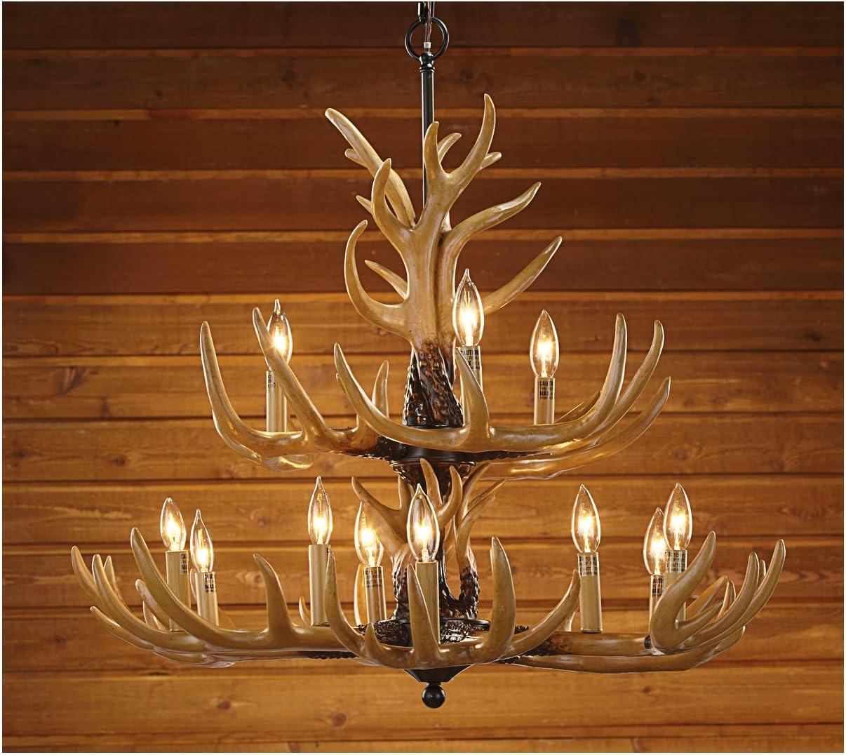 Glass Antler Chandelier | Antler lights, Rustic antler